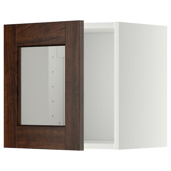 METOD Pensile con anta a vetro, bianco/Edserum marrone, 40x40 cm