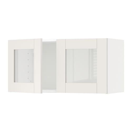 Pensili Ante Scorrevoli Ikea.Metod Pensile Con 2 Ante A Vetro Bianco Savedal Bianco Ikea