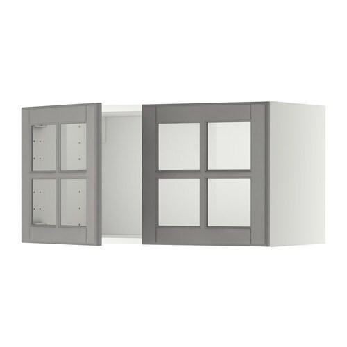 METOD Pensile con 2 ante a vetro - bianco, Bodbyn grigio - IKEA