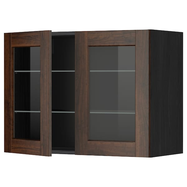 METOD Pensile con ripiani/2 ante a vetro, nero/Edserum marrone, 80x60 cm