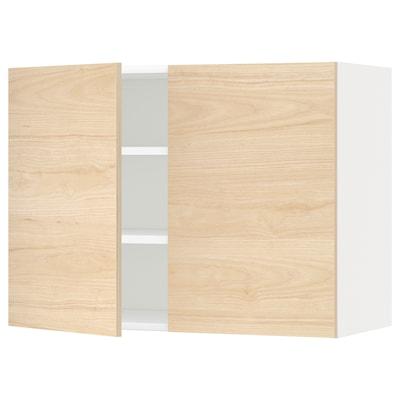 METOD Pensile con ripiani/2 ante, bianco/Askersund effetto frassino chiaro, 80x60 cm