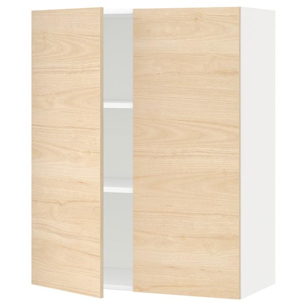 METOD Pensile con ripiani/2 ante, bianco/Askersund effetto frassino chiaro, 80x100 cm