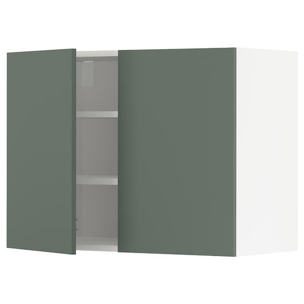 METOD Pensile con ripiani/2 ante, bianco/Bodarp grigio-verde, 80x60 cm