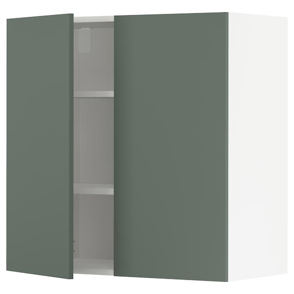 METOD Pensile con ripiani/2 ante, bianco/Bodarp grigio-verde, 80x80 cm