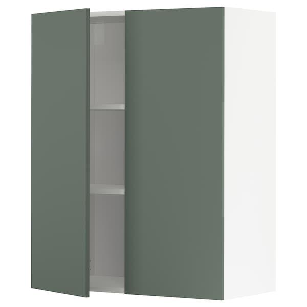 METOD Pensile con ripiani/2 ante, bianco/Bodarp grigio-verde, 80x100 cm
