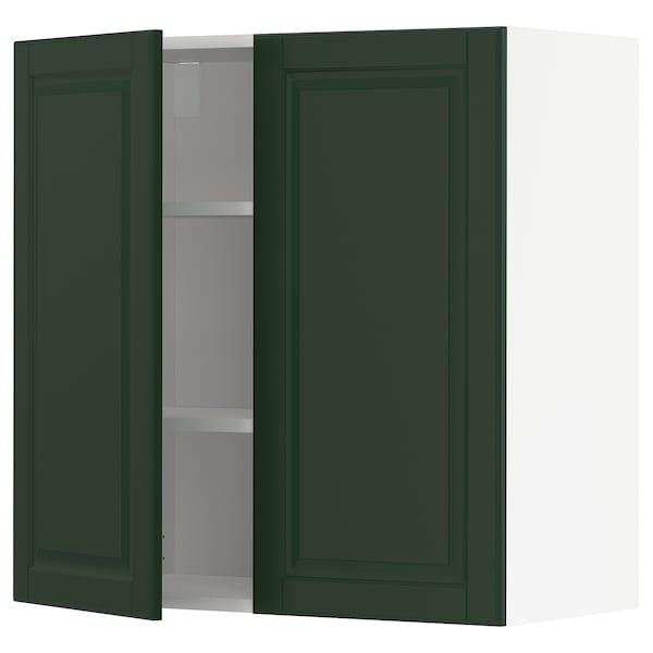 METOD Pensile con ripiani/2 ante, bianco/Bodbyn verde scuro, 80x80 cm