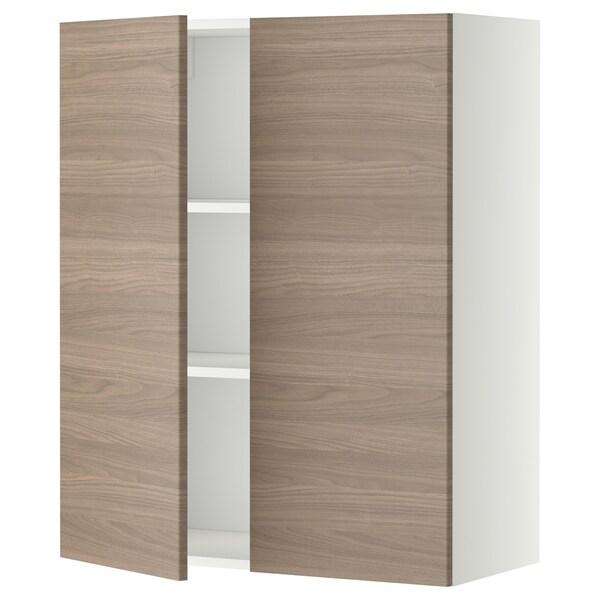 METOD Pensile con ripiani/2 ante, bianco/Brokhult grigio chiaro, 80x100 cm