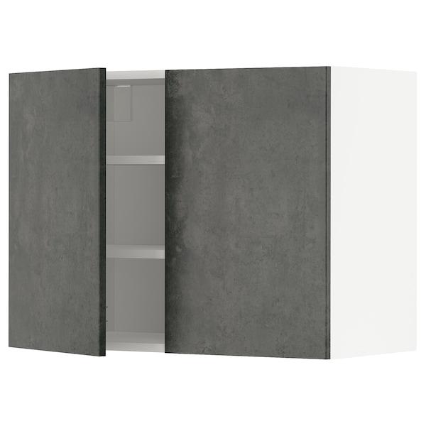METOD Pensile con ripiani/2 ante, bianco/Kalhyttan effetto cemento grigio scuro, 80x60 cm
