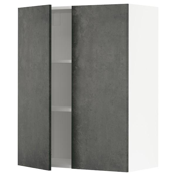 METOD Pensile con ripiani/2 ante, bianco/Kalhyttan effetto cemento grigio scuro, 80x100 cm