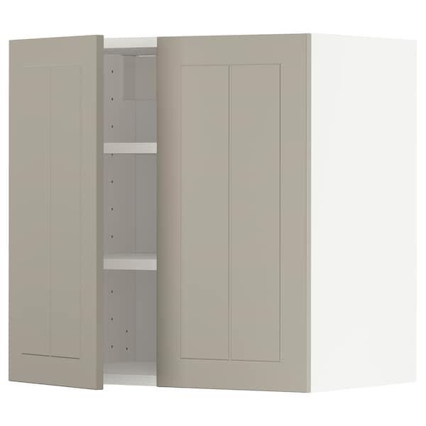 METOD Pensile con ripiani/2 ante, bianco/Stensund beige, 60x60 cm