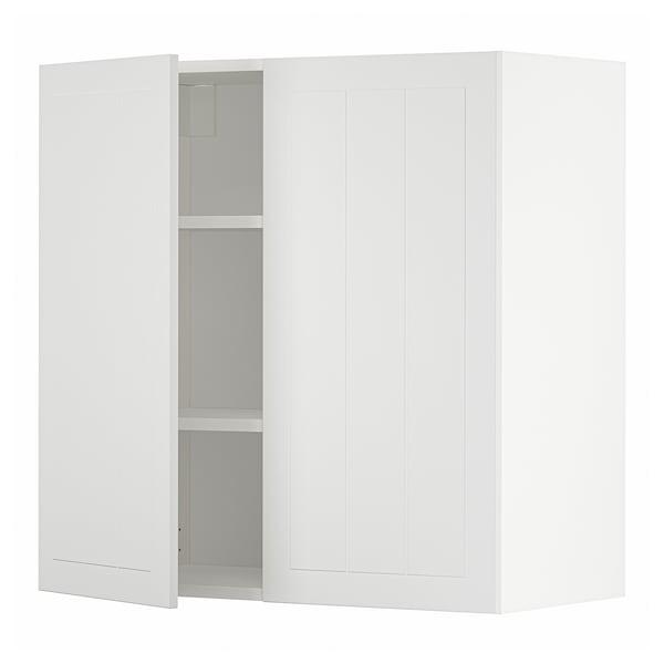 METOD Pensile con ripiani/2 ante, bianco/Stensund bianco, 80x80 cm