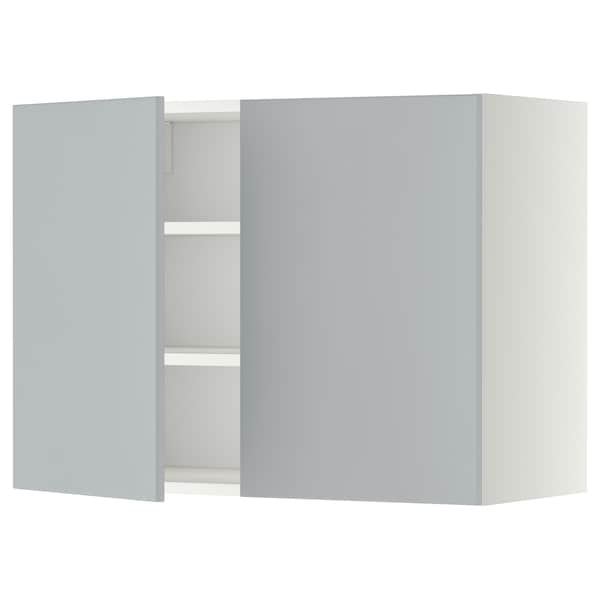 METOD Pensile con ripiani/2 ante, bianco/Veddinge grigio, 80x60 cm