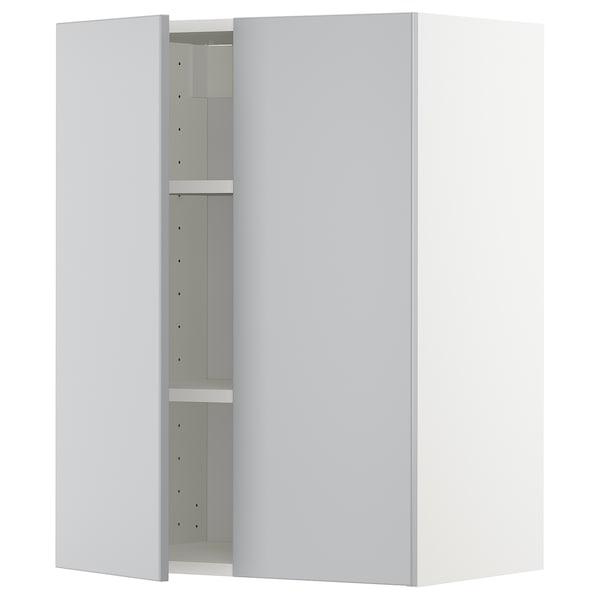 METOD Pensile con ripiani/2 ante, bianco/Veddinge grigio, 60x80 cm