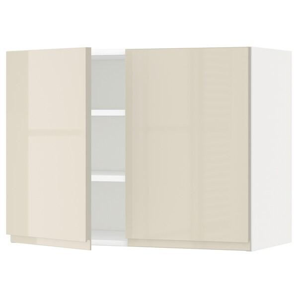 METOD Pensile con ripiani/2 ante, bianco/Voxtorp beige chiaro lucido, 80x60 cm