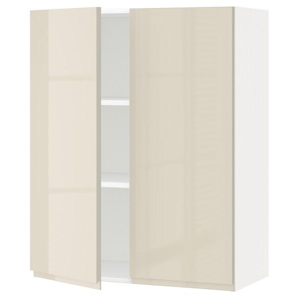 METOD Pensile con ripiani/2 ante, bianco/Voxtorp beige chiaro lucido, 80x100 cm