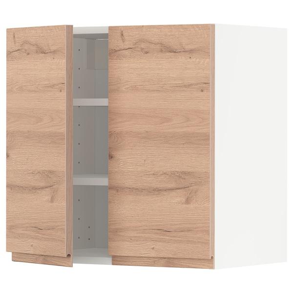 METOD Pensile con ripiani/2 ante, bianco/Voxtorp effetto rovere, 60x60 cm
