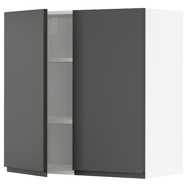 METOD Pensile con ripiani/2 ante, bianco/Voxtorp grigio scuro, 80x80 cm