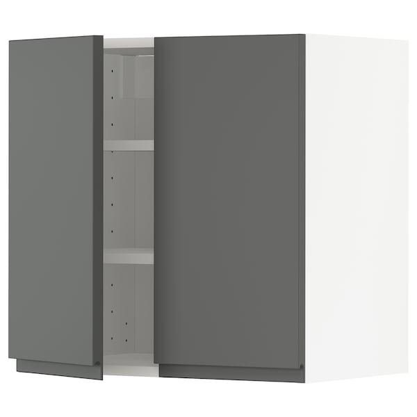 METOD Pensile con ripiani/2 ante, bianco/Voxtorp grigio scuro, 60x60 cm