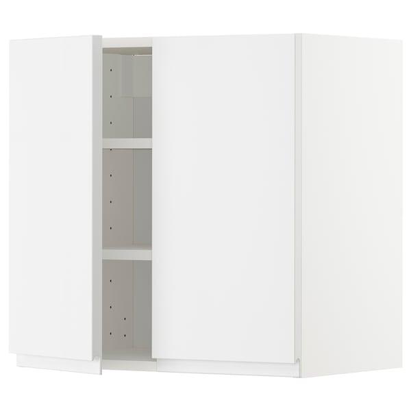 METOD Pensile con ripiani/2 ante, bianco/Voxtorp lucido/bianco, 60x60 cm