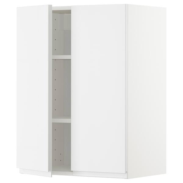 METOD Pensile con ripiani/2 ante, bianco/Voxtorp lucido/bianco, 60x80 cm