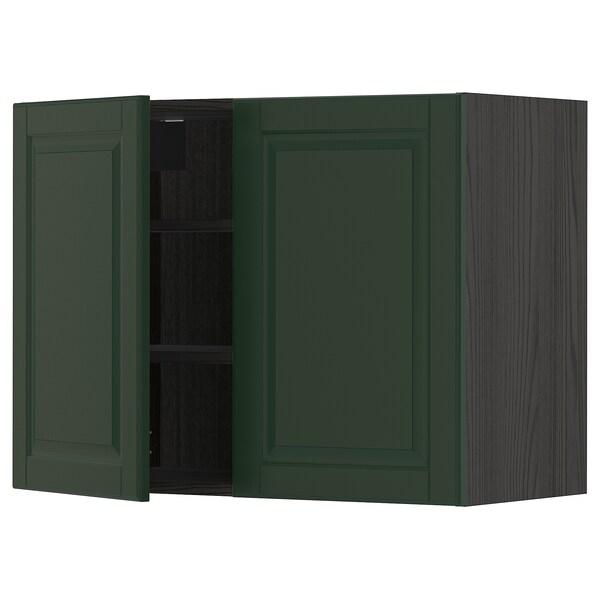 METOD Pensile con ripiani/2 ante, nero/Bodbyn verde scuro, 80x60 cm