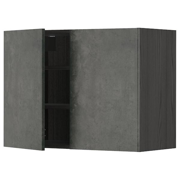 METOD Pensile con ripiani/2 ante, nero/Kalhyttan effetto cemento grigio scuro, 80x60 cm
