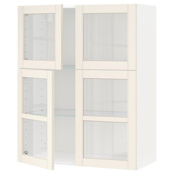 METOD Pensile con ripiani/4 ante a vetro, bianco/Hittarp bianco sporco, 80x100 cm