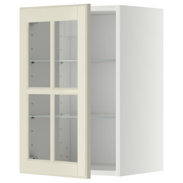 METOD Pensile con ripiani/anta a vetro, bianco/Bodbyn bianco sporco, 40x60 cm