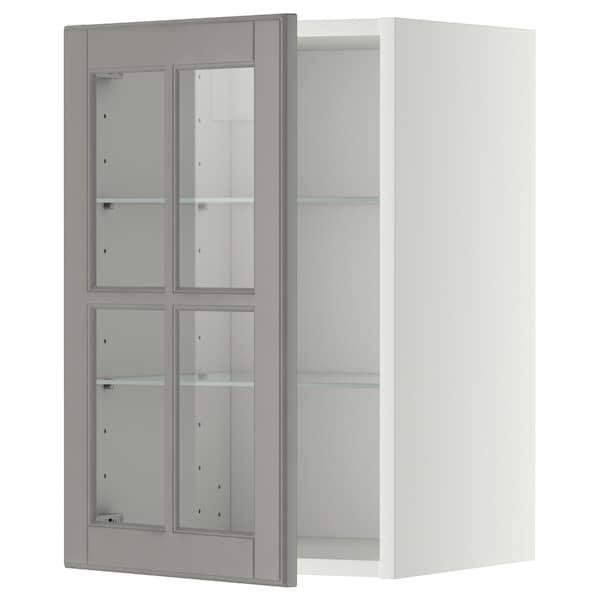 METOD Pensile con ripiani/anta a vetro, bianco/Bodbyn grigio, 40x60 cm