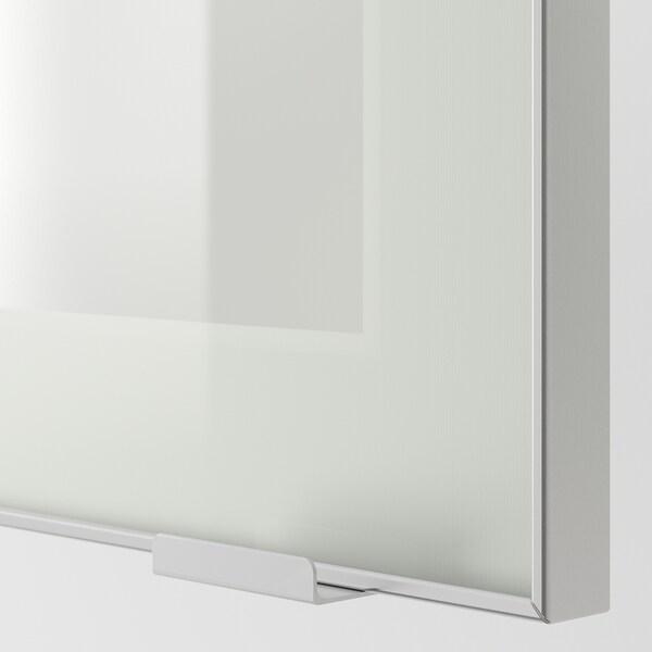 METOD Pensile con ripiani/anta a vetro, bianco/Jutis vetro smerigliato, 30x80 cm