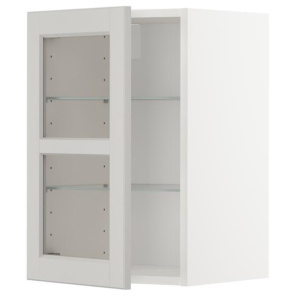 METOD Pensile con ripiani/anta a vetro, bianco/Lerhyttan grigio chiaro, 40x60 cm