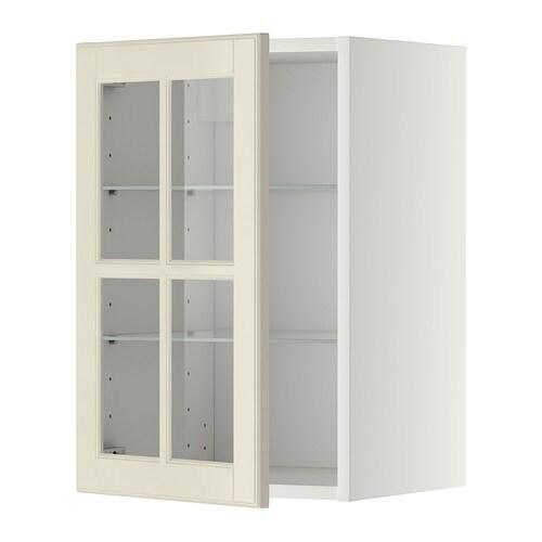 Metod pensile con ripiani anta a vetro bianco bodbyn for Vetro per mobili ikea