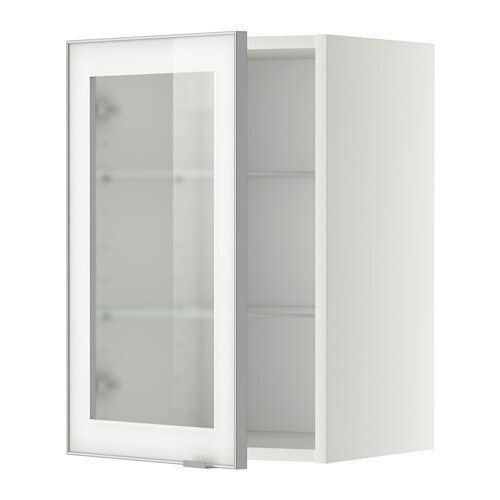 Metod pensile con ripiani anta a vetro bianco jutis for Vetro per mobili ikea