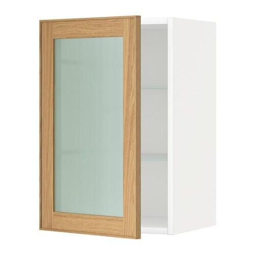 METOD Pensile con ripiani/anta a vetro - bianco, Ekestad rovere, 40x60 cm - IKEA