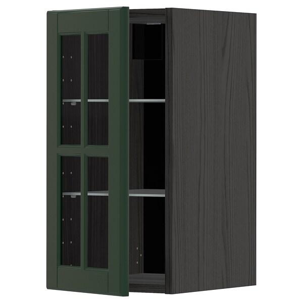 METOD Pensile con ripiani/anta a vetro, nero/Bodbyn verde scuro, 30x60 cm