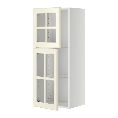 metod pensile con ripiani 2 ante a vetro bianco bodbyn bianco sporco ikea. Black Bedroom Furniture Sets. Home Design Ideas