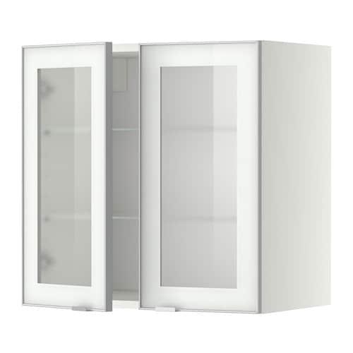 Metod pensile con ripiani 2 ante a vetro bianco jutis - Mobili in vetro ikea ...
