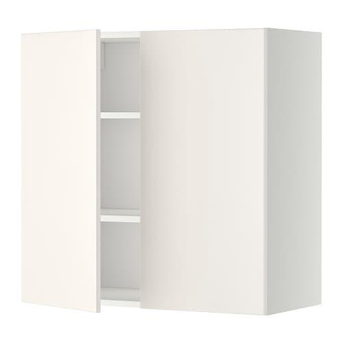 Ikea Pensili Ante Scorrevoli.Metod Pensile Con Ripiani 2 Ante Bianco Veddinge Bianco 80x80 Cm