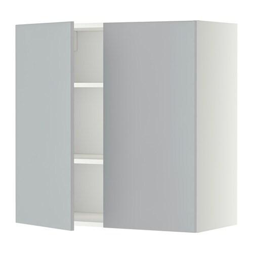 METOD Pensile con ripiani/2 ante - bianco, Veddinge grigio, 80x80 cm ...