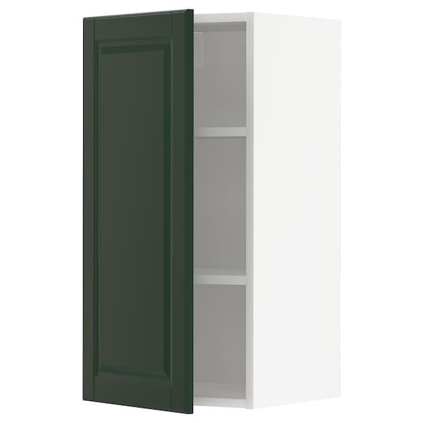 METOD Pensile con ripiani, bianco/Bodbyn verde scuro, 40x80 cm