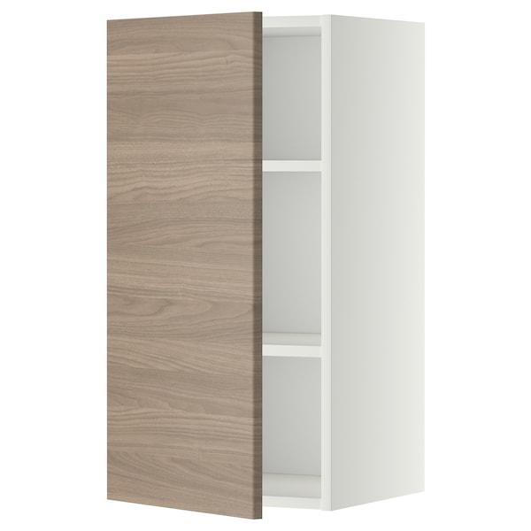 METOD Pensile con ripiani, bianco/Brokhult grigio chiaro, 40x80 cm