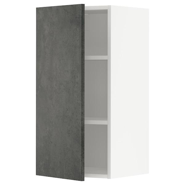 METOD Pensile con ripiani, bianco/Kalhyttan effetto cemento grigio scuro, 40x80 cm