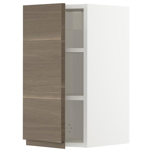 METOD Pensile con ripiani, bianco/Voxtorp effetto noce, 30x60 cm