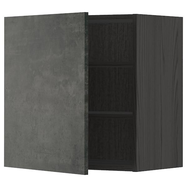 METOD Pensile con ripiani, nero/Kalhyttan effetto cemento grigio scuro, 60x60 cm