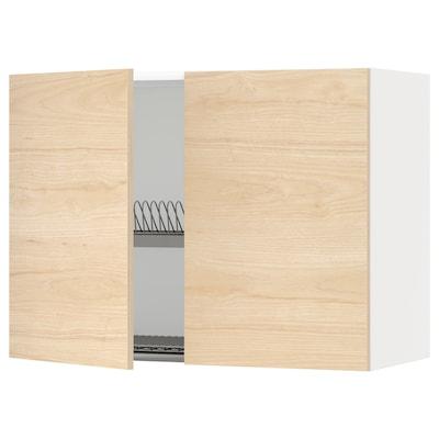 METOD Pensile con scolapiatti/2 ante, bianco/Askersund effetto frassino chiaro, 80x60 cm