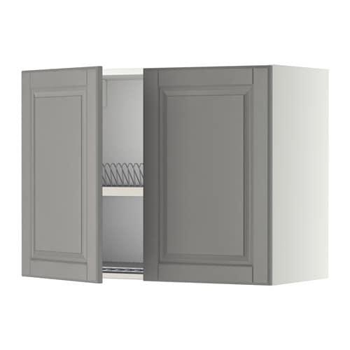 METOD Pensile con scolapiatti/2 ante - bianco, Bodbyn grigio, 80x60 ...
