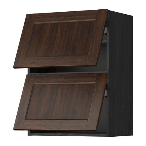 Metod pensile orizzontale con 2 ante effetto legno nero edserum effetto legno marrone 60x80 - Pensile bagno orizzontale ...