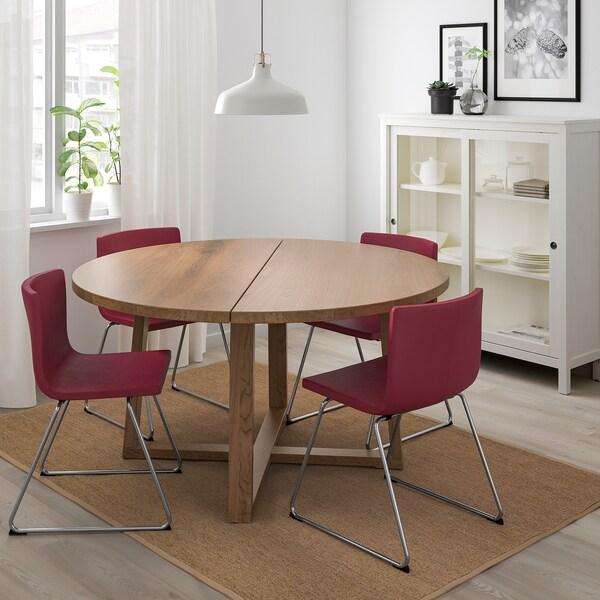 Ikea Tavoli Rotondi In Legno.Morbylanga Tavolo Impiallacciatura Di Rovere Mordente Marrone