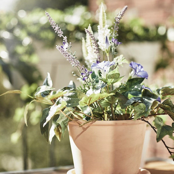 MUSKOTBLOMMA Vaso con sottovaso, da interno/esterno terracotta, 12 cm