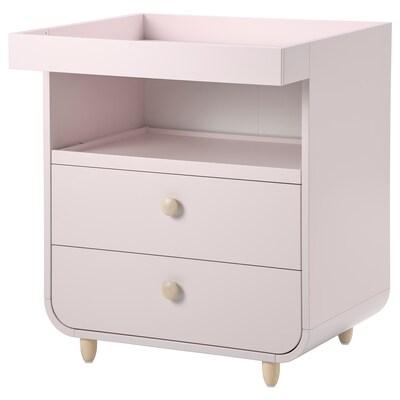 MYLLRA Fasciatoio con cassetti, rosa pallido
